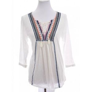 Lucky Brand Embroidered Tunic Burnout Top  Sz L